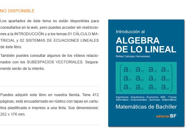 Si Y es un espacio vectorial sobre el cuerpo de los reales y S es un subconjunto de Y, se dice que S es SUBESPACIO de Y si con las leyes suma y producto por un escalar definidas en Y, el conjunto S tambien es un espacio vectorial sobre el cuerpo de los re